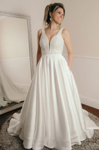 2020 New Arrival A Line Sweetheart Satin Beaded Long Wedding Dresses