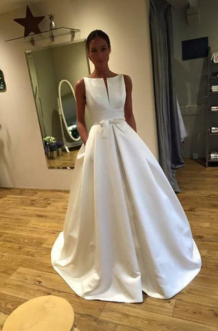A Line Classic Satin Bateau Bowknot Long Wedding Dresses 2020