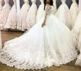 2020 New Designer Long Sleeves Off Shoulder Flowers Ball Gown Lace Up Wedding Dresses