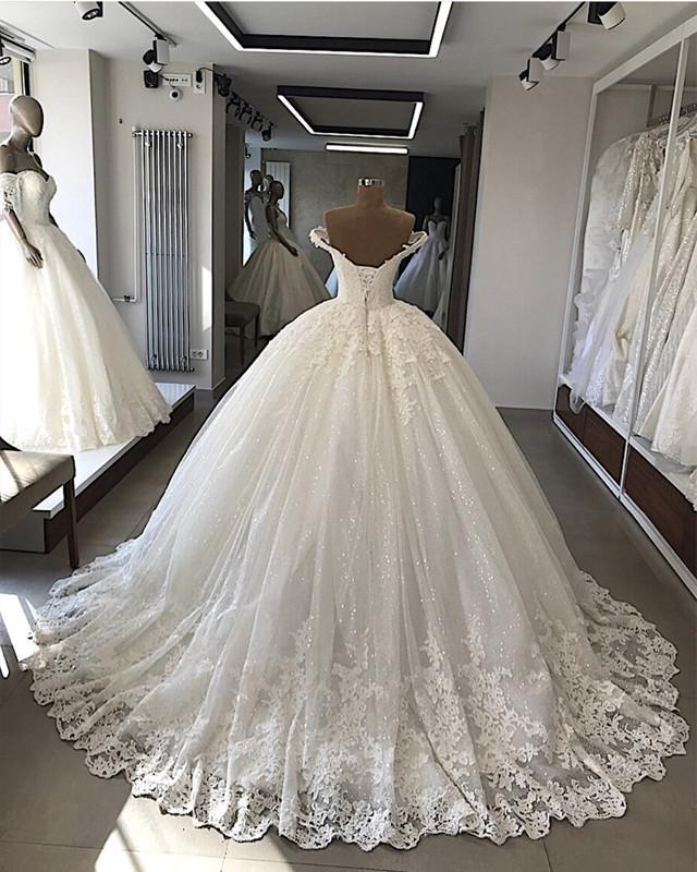 Luxury Sweetheart Off Shoulder Long Lace Ball Gown Lace Up Back Wedding Dresses 2020