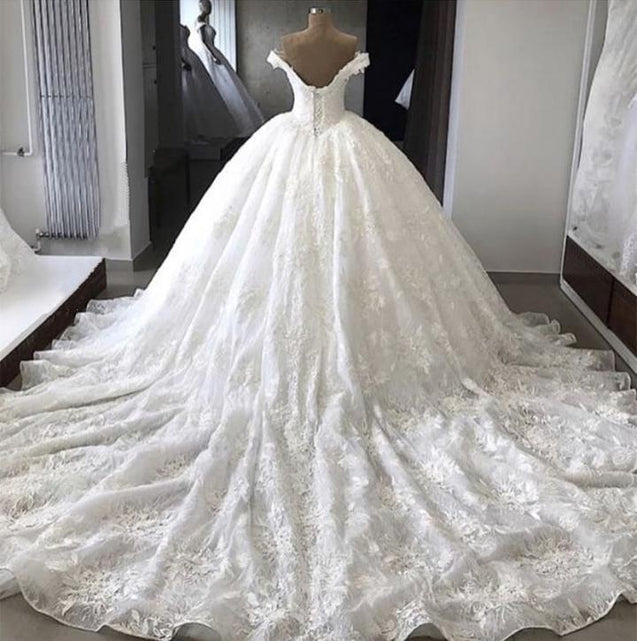 Amazing Off Shoulder Sweetheart Lace Long Ball Gown Wedding Dresses 2020