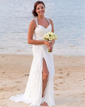 2021 New Arrival Chiffon Sheath Side Slit Sweetheart Beaded Beach Wedding Dresses