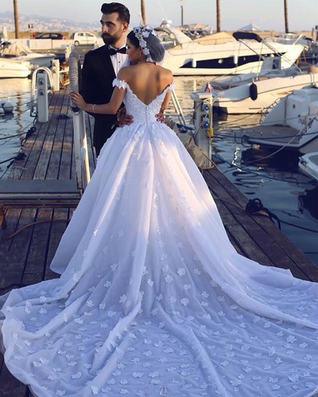 2020 Luxury A Line Off Shoulder Sweetheart Satin Flowers Long Train Wedding Dresses