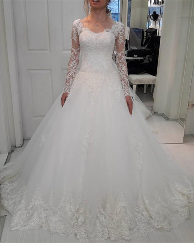 2020 New Arrival A Line Sweetheart Long Sleeves White Lace Up Back Long Wedding Dresses