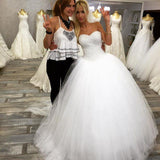 2020 New Arrival Tulle White Sweetheart Beaded Lace Up Back Ball Gown Wedding Dresses