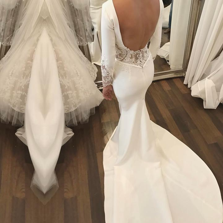 Amazing Sheath Satin Backless Long Sleeves Lace Long Side Slit Wedding Dresses 2020