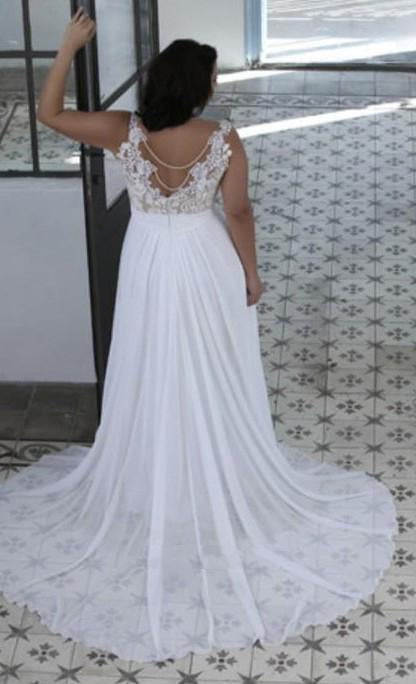 2020 Cheap A Line Sweetheart Lace Chiffon Backless Beach Plus Size Wedding Dresses