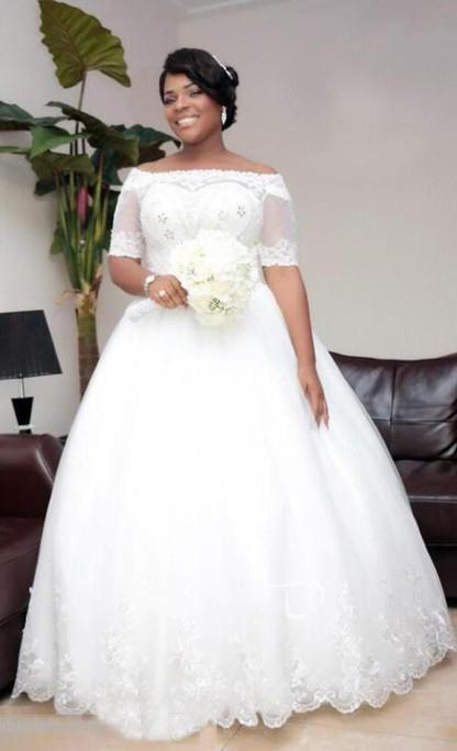 2020 New Arrival Off Shoulder Sweetheart Beaded Tulle Lace Up Back Ball Gown Wedding Dresses
