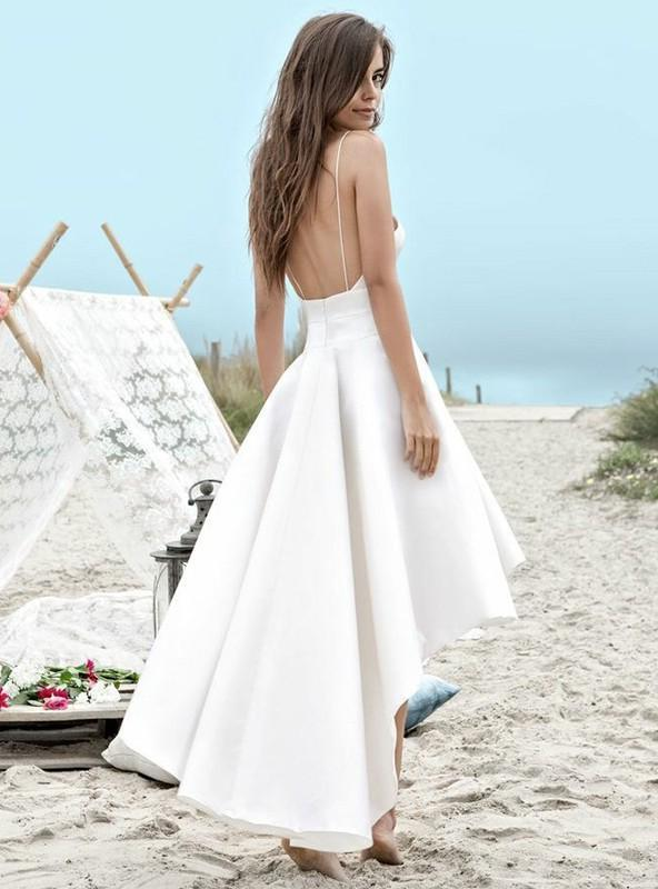 2020 Elegant A Line High Low Satin Backless Short Sweetheart Beach Wedding Dresses