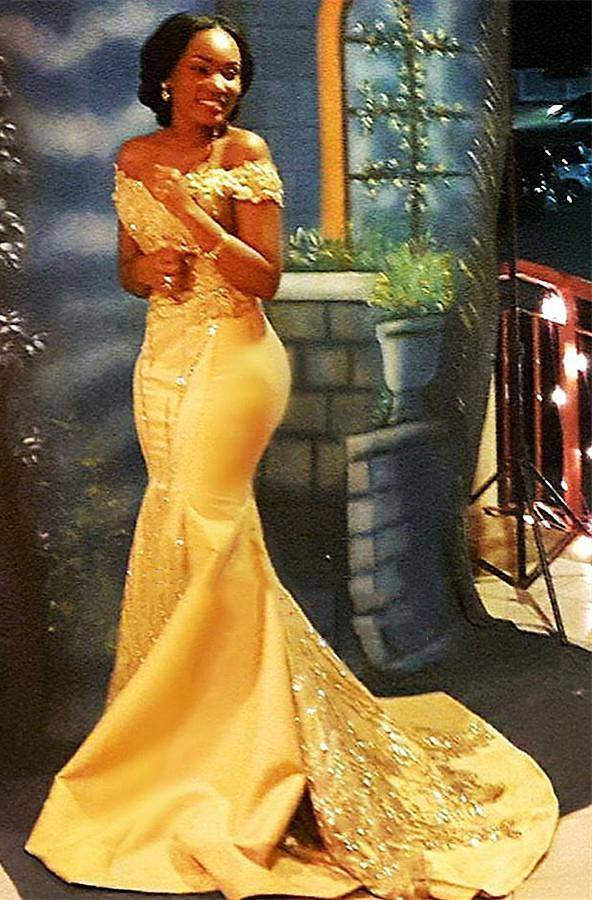 Sexy Gold Mermaid Off Shoulder Satin Beaded Long 2021 African American Prom Dresses