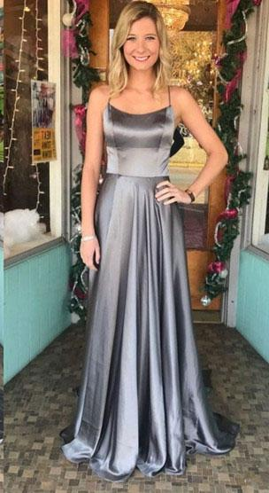 2021 Cheap A Line Elastic Satin Halter Lace Up Back Gray Long Prom Dresses
