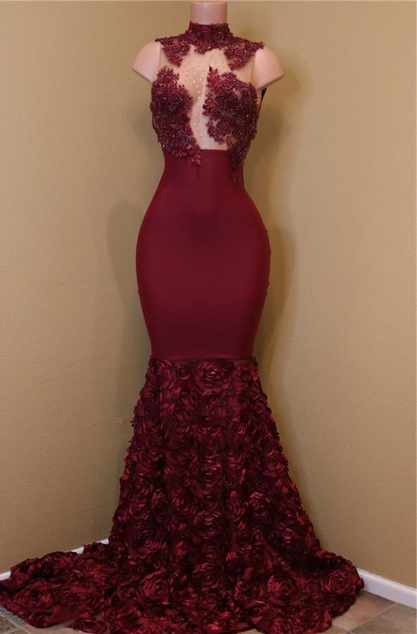 2021 New Arrival Mermaid Burgundy High Neck Rose Ruffles Sleeveless Long African American Prom Dress