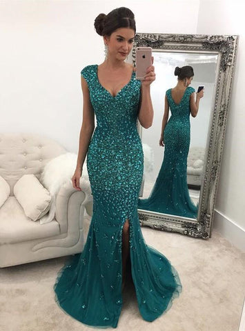 2020 New Arrival Sheath Tulle Side Slit Teal Sweetheart Capped Sleeves Prom Dress