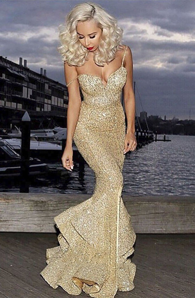 Sexy 2020 Gold Sweetheart Mermaid Side Slit Sequence Long Spaghetti Straps Prom Dress