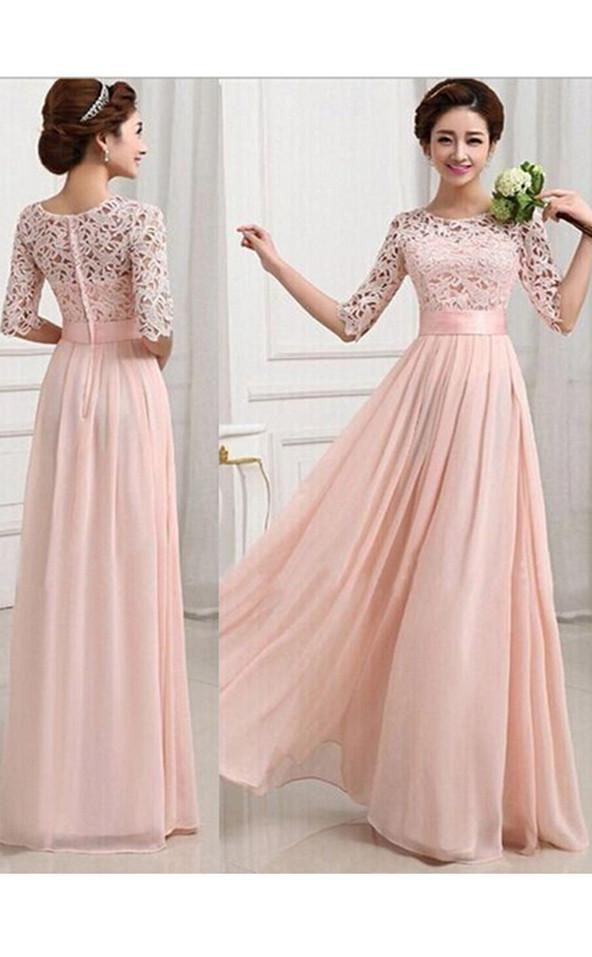 Pearl Pink Scoop Neck Half Sleeve Chiffon A Line Bridesmaid Gowns / Dresses