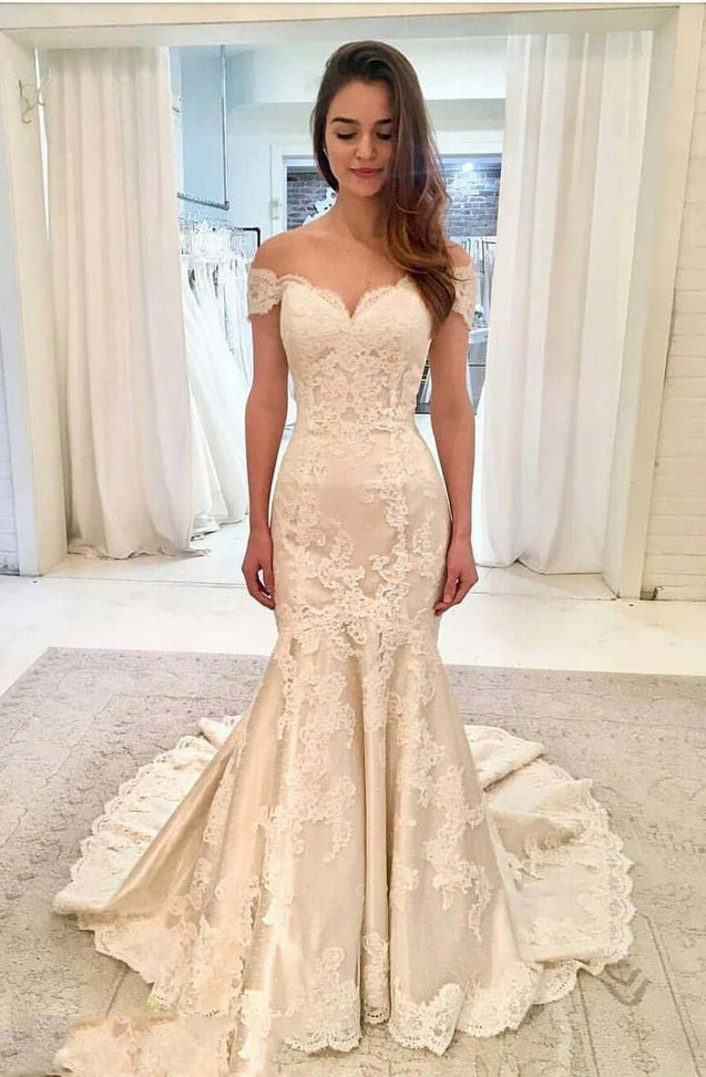Mermaid Beige Off Shoulder Applique Bodice Chapel Train Wedding Dresses
