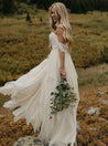 Ruffle Tiers Floor Length Off Shoulder Backless Chiffon Wedding Dresses