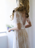 Modest Short Sleeve Champagne V Neck Backless Applique Lace Wedding Dresses