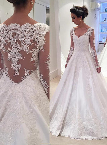 Backless Lace Applique A Line White V Neck Long Sleeve Wedding Dresses