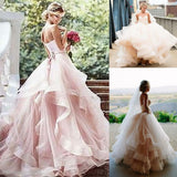 Tiers Ruffle Sweetheart Blushing Pink Sleeveless Organza Backless Wedding Dresses
