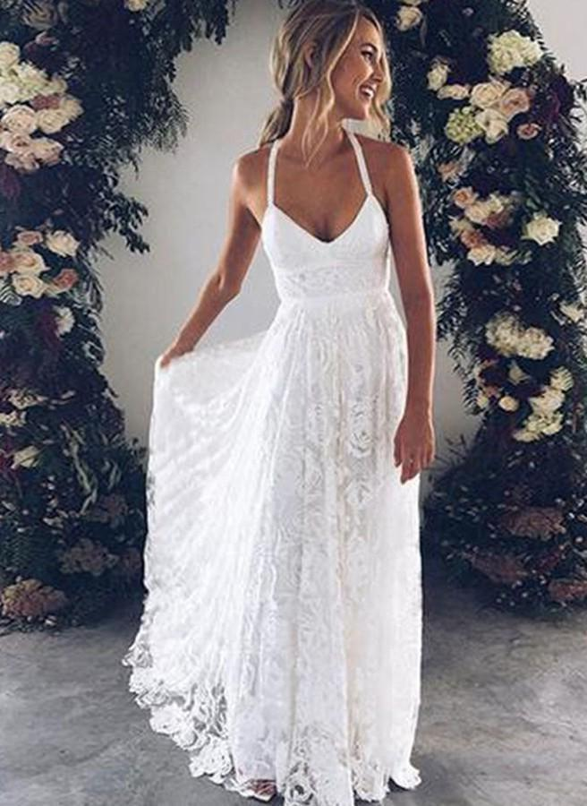 Criss Cross White Lace Applique Halter V Neck Sexy Empire Wedding Dresses