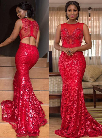 2020 South East Asia Style Red Lace Scoop Neck Sleeveless Mermaid/Trumpet Prom Dresses
