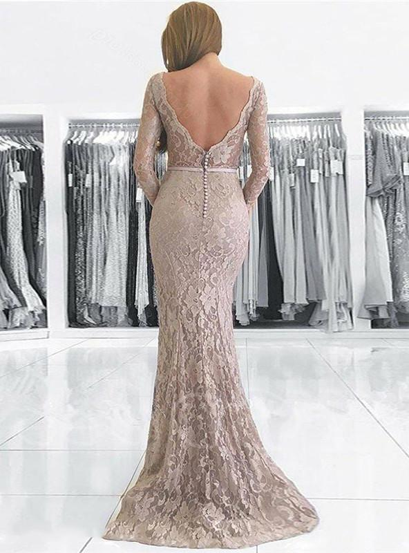 2020 Elegant Champagne Lace V Neck Long Sleeve Backless Botton Mermaid/Trumpet Prom Dresses