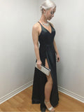 2020 Sexy Black V Neck Sleeveless Criss Cross Split-Front Satin Floor Length Prom Dresses