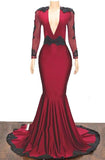 2020 Elegant Mermaid/Trumpet V Neck Long Sleeve Applique Beaded Backless Satin Prom Dresses