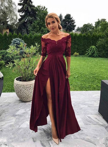 2020 Elegant Sheath/Column Off-The-Shoulder Half Sleeve Split-Front Lace Prom Dresses