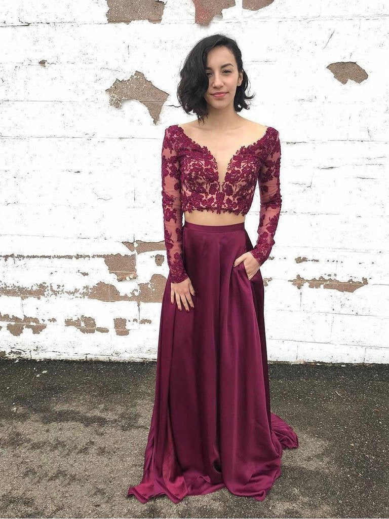 2020 New Arrival Two Piece Lace Long Sleeve V Neck Satin Prom Dresses