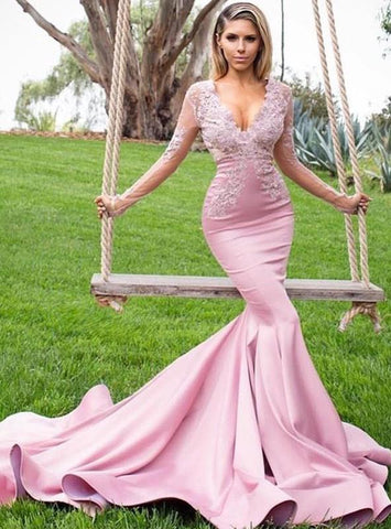 2020  Gorgeous Mermaid/Trumpet V Neck Long Sleeve Applique Beaded Prom Dresses