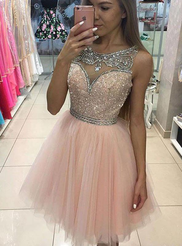 2020 A-Line/Princess Scoop Bateau Sleeveless Sequins Beading Tulle Short/Mini Homecoming Dresses