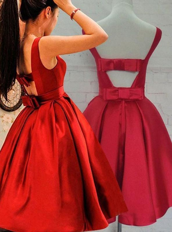 2020 A-Line/Princess Scoop Neck Sleeveless Ruched Bowknot Back Cut Out Tea-Length Satin Homecoming Dresses