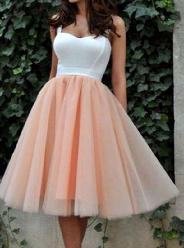 2020 A-Line/Princess Straps Sweetheart Sleeveless Tulle Tea-Length Homecoming Dresses