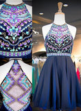 2020 A-Line/Princess Halter Sleeveless Rhinestone Beaded Chiffon Short/Mini Homecoming Dresses