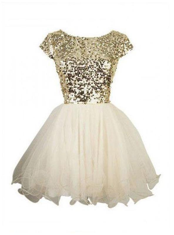 2021 Ball Gown Scoop Neck Short Sleeve Sequin Organza Cut Short/Mini Homecoming Dresses