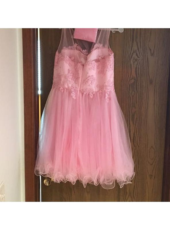 2020 Ball Gown Scoop Neck Sleeveless Applique Organza Cut Short/Mini Homecoming Dresses