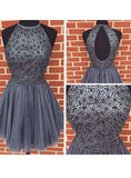 2020 A-Line/Princess Halter Sleeveless Beaded Pleated Cut Out Cut Short/Mini Homecoming Dresses