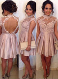 2020 A-Line/Princess High Neck Sleeveless Applique Cut Out Pleated Satin Cut Short/Mini Homecoming Dresses