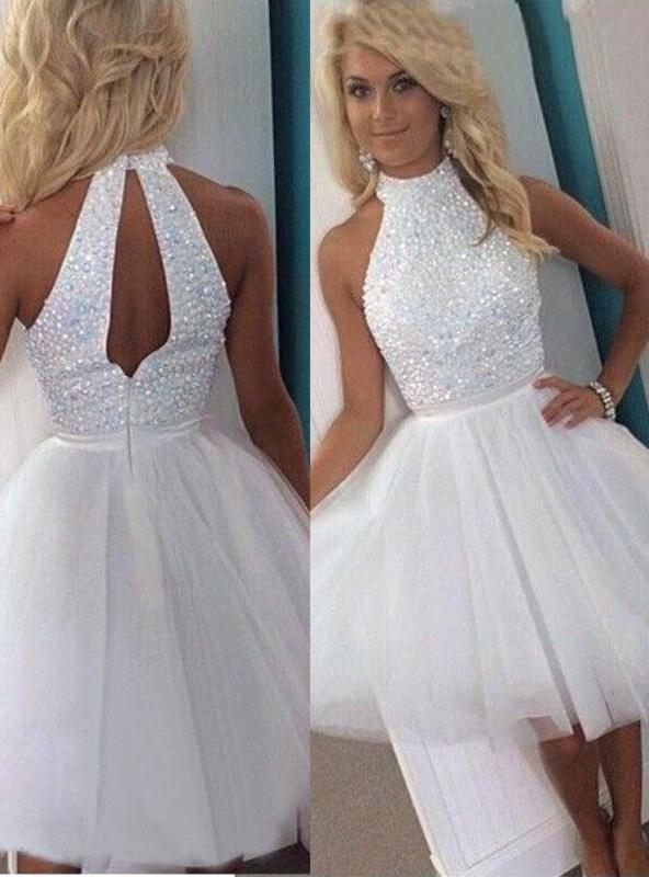 2020 Ball Gown Halter Sleeveless Cut Out Beading Tulle Short/Mini Homecomimg Dresses
