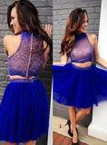 2020 A-Line/Princess Halter Sleeveless Two Piece Beading Tulle Cut Short/Mini Homecoming Dresses