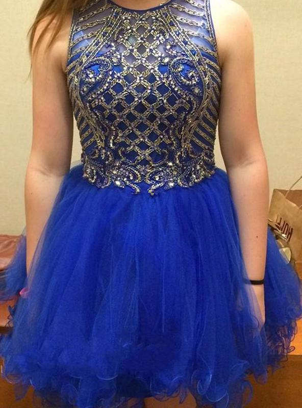 2020 Ball Gown Jewel Neck Sleeveless Beading Organza Cut Short/Mini Homecoming Dresses
