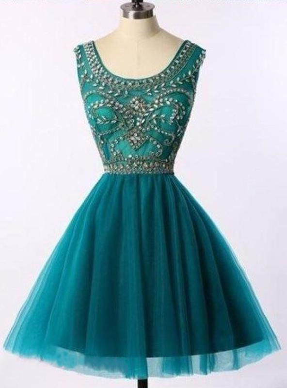2020 Ball Gown Scoop Neck Sleeveless Beading Tulle Cut Short/Mini Homecoming Dresses