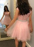 2020 A-Line/Princess Scoop Neck Cap Sleeve Applique Beading Organza Cut Short/Mini Homecoming Dresses