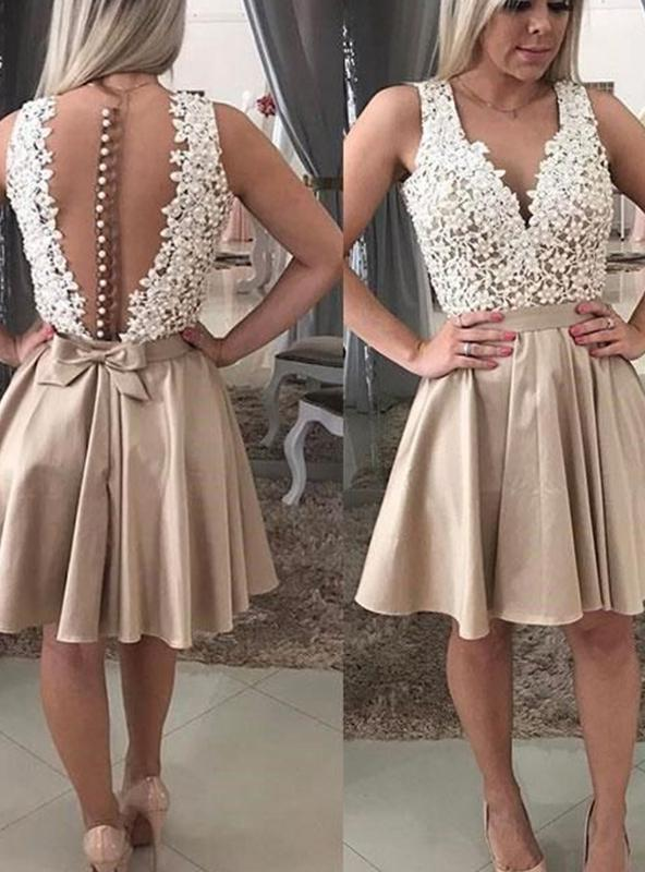 2020 A-Line/Princess V Neck Sleeveless Applique Botton Bowknot Cut Short/Mini Homecoming Dresses