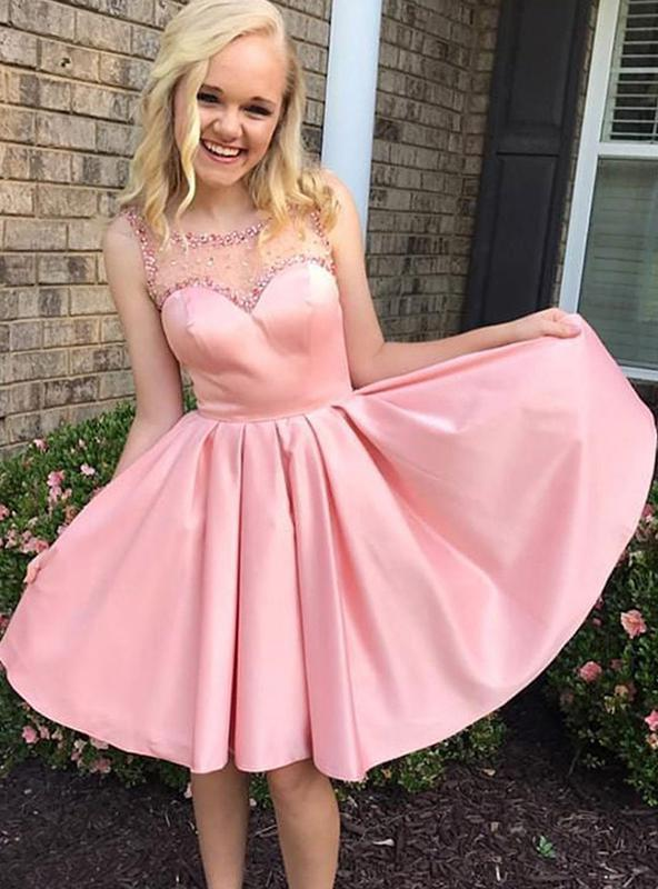 2020 A-Line/Princess Scoop Neck Sleeveless Pleated Beading Satin Short/Mini Homecoming Dresses