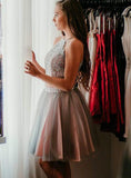 2020 Ball Gown Two Piece Halter Sleeveless Applique Tulle Knee-Length Homecoming Dresses
