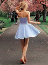 2021 A-Line/Princess Strapless Sleeveless Cut Short/Mini Homecoming Dresses