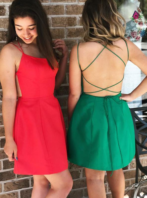 2020 Sheath/Column Spaghetti Straps Sleeveless Criss Cross Cut Short/Mini Homecoming Dresses